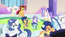 Size: 4204x2428 | Tagged: safe, artist:velveagicsentryyt, princess flurry heart, oc, oc only, oc:apple pie, oc:destiny, oc:galaxy swirls, oc:party pie, oc:rainbow blitzes, oc:sky city, oc:velvet sentry, crystal pony, earth pony, hybrid, pegasus, pony, unicorn, crystal spa, female, generation xerox, interspecies offspring, mare, mud, mud bath, offspring, older, parent:applejack, parent:caramel, parent:cheese sandwich, parent:discord, parent:fancypants, parent:flash sentry, parent:fluttershy, parent:pinkie pie, parent:rainbow dash, parent:rarity, parent:soarin', parent:twilight sparkle, parents:carajack, parents:cheesepie, parents:discoshy, parents:flashlight, parents:raripants, parents:soarindash