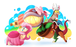 Size: 8700x5388 | Tagged: safe, artist:zlayd-oodles, discord, fluttershy, draconequus, pegasus, pony, absurd resolution, bow, bowser, bowsercord, brick block, choker, clothes, cloud, cosplay, costume, crossover, crown, discoshy, dress, ear piercing, engrish in the description, female, floppy ears, flower, flutterpeach, food, jewelry, male, mare, mountain, nintendo, open mouth, peach, piercing, piranha plant, plant, princess peach, regalia, scared, sharp teeth, shipping, signature, simple background, sky, smiling, straight, super mario bros., teeth, transparent background, wings, wristband