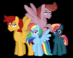 Size: 1024x809   Tagged: safe, artist:ashidaii, flash magnus, rainbow dash, oc, oc:spectral wisp, oc:zapp magnus, pegasus, pony, dashmagnus, female, male, mare, offspring, parent:flash magnus, parent:rainbow dash, parents:dashmagnus, shipping, simple background, stallion, straight, transparent background