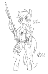 Size: 650x1000 | Tagged: safe, artist:sepiakeys, derpy hooves, anthro, breasts, clothes, cloths, cosplay, costume, delicious flat chest, female, grenade, gun, handgun, lineart, metal gear solid 5, pantyhose, pistol, quiet (metal gear), rifle, ripped pantyhose, sniper, sniper rifle, solo, weapon