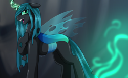 Size: 1848x1124 | Tagged: artist:erroremma, changeling, fangs, female, floppy ears, glowing eyes, green magic, hoof on chest, looking at you, mare, open mouth, queen, queen chrysalis, raised hoof, safe, simple background, smiling, solo, standing, voice actor