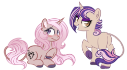 Size: 600x330 | Tagged: safe, artist:sinamuna, oc, oc only, oc:cinnamon beat, oc:peppermint song, pony, unicorn, au:equuis, awkward smile, base used, blushing, brown eyes, brown fur, colored hooves, curly hair, cutie mark, duo, eyeshadow, female, gradient mane, horn, leonine tail, long hair, lying down, makeup, mare, multicolored hair, pink hair, purple eyes, purple hair, redesign, short hair, siblings, sisters, smiling, smirk, solo, updated design