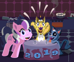 Size: 2513x2117 | Tagged: artist:magerblutooth, batter, bowl, cake, cake batter, candle, cat, comic:diamond and dazzle, diamond tiara, earth pony, flour, food, happy new year, happy new year 2019, holiday, mixing bowl, oc, oc:dazzle, oc:peal, oven, pony, safe, sink