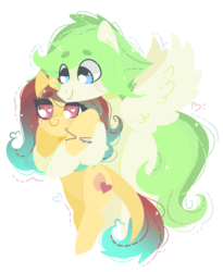 Size: 1280x1564 | Tagged: safe, artist:euphoriapony, oc, oc only, pegasus, pony, beanbrows, blushing, bracelet, cute, eye clipping through hair, eyebrows, eyebrows visible through hair, female, heart, heart eyes, jewelry, male, oc x oc, ocbetes, shipping, straight, wingding eyes
