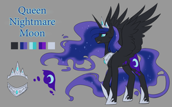 Size: 1200x750 | Tagged: safe, artist:its-gloomy, nightmare moon, ethereal mane, hoof shoes, jewelry, queen, reference sheet, regalia, solo, spread wings, wings