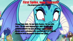 Size: 1280x720 | Tagged: safe, edit, screencap, garble, princess ember, dragon, anti-shipping, caption, duckery in the description, emble, female, go to sleep garble, image macro, male, op is a duck, op is trying to start shit, shipping, shitposting, straight, text