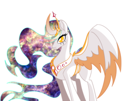 Size: 1280x1024 | Tagged: alicorn, alternate eye color, artist:puddingskinmcgee, crown, curved horn, ethereal mane, galaxy mane, gradient horn, hair over one eye, horn, jewelry, newbie artist training grounds, princess celestia, redesign, regalia, safe, simple background, slit eyes, solo, transparent background, two toned wings