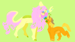 Size: 1280x719 | Tagged: safe, artist:comfortdoodles, applejack, fluttershy, earth pony, kirin, pony, appleshybomb, appleshy, blushing, female, flower, kirin-ified, lesbian, shipping, simple background, smiling, species swap