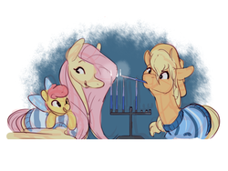 Size: 640x480 | Tagged: safe, artist:bananasmores, apple bloom, applejack, fluttershy, earth pony, pegasus, pony, appleshybomb, appleshy, candle, clothes, female, hanukkah, lesbian, menorah, shipping, sweater