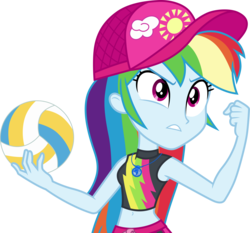 Size: 3218x3000 | Tagged: .ai available, artist:cloudyglow, belly button, clothes, equestria girls, equestria girls series, female, forgotten friendship, geode of super speed, hat, high res, magical geodes, midriff, rainbow dash, safe, simple background, sleeveless, solo, sports, swimsuit, transparent background, vector, volleyball