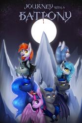 Size: 2160x3240   Tagged: safe, artist:doekitty, princess luna, twilight sparkle, oc, oc:azure mist, oc:midnight eye, oc:midnight wind, oc:moonwarden, oc:rowan berry, oc:sunfall ordain, alicorn, bat pony, pony, fanfic:journey with a batpony, bat pony oc, commission, fanfic, fanfic art, fanfic cover, female, full moon, male, mare, moon, mountain, smiling, stallion, twilight sparkle (alicorn)