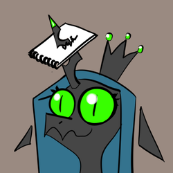 Size: 512x512 | Tagged: source needed, useless source url, safe, artist:chrysalisdraws, queen chrysalis, changeling, changeling queen, bust, crown, fangs, female, floating ears, floppy ears, gray background, horn impalement, jewelry, notepad, regalia, simple background, slit eyes, smiling, solo, wavy mouth