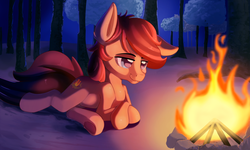 Size: 2000x1197 | Tagged: safe, artist:discorded, oc, oc only, oc:cottonwood kindle, earth pony, pony, :t, campfire, colored pupils, cute, dark, fire, forest, lidded eyes, looking at something, male, night, ocbetes, prone, request, requested art, smiling, solo, stallion, tree, underhoof
