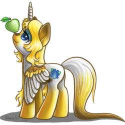 Size: 600x600 | Tagged: alicorn, alicorn oc, apple, artist:dany-the-hell-fox, balancing, colored wings, cutie mark, female, food, hooves, horn, lidded eyes, looking up, mare, oc, oc:emilia, oc only, ponified, pony, safe, shadow, simple background, smiling, solo, spread wings, transparent background, wings