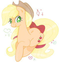 Size: 967x1007 | Tagged: safe, artist:euphoriapony, applejack, pony, beanbrows, bow, cute, eye clipping through hair, eyebrows, eyebrows visible through hair, female, heart, heart eyes, jackabetes, ponyloaf, simple background, solo, tail bow, transparent background, wingding eyes