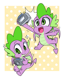Size: 500x600 | Tagged: safe, artist:thegreatrouge, spike, dragon, baby, baby dragon, camera, cute, cute little fangs, fangs, flash, green eyes, happy, male, polka dot background, self portrait, selfie, smiling, solo, spikabetes, spread wings, winged spike, wings