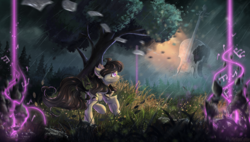 Size: 2000x1135 | Tagged: safe, artist:atlas-66, artist:melloncollie-chan, octavia melody, earth pony, pony, collaboration, fantasy, female, grass, mare, music notes, scenery, scenery porn, smiling, solo, tree