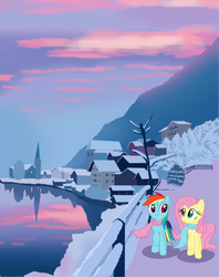 Size: 806x1018 | Tagged: artist:owlity, female, flutterdash, fluttershy, lake, lesbian, mare, mountain, pegasus, pony, rainbow dash, reflection, safe, scenery, shipping, snow, sunset, winter