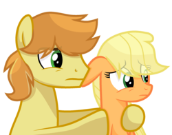 Size: 2108x1652 | Tagged: applecest, applejack, artist:sapphireartemis, braeburn, braejack, female, hatless, incest, male, missing accessory, pony, safe, shipping, simple background, straight, transparent background