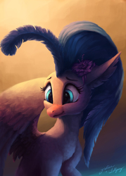 Size: 1000x1400   Tagged: safe, artist:faline-art, artist:lollipony, princess skystar, classical hippogriff, hippogriff, my little pony: the movie, beautiful, blue eyes, cheek fluff, chest fluff, collaboration, cute, dark, ear fluff, feather, female, flower, flower in hair, fluffy, leg fluff, looking down, neck fluff, quadrupedal, shoulder fluff, simple background, skyabetes, smiling, solo, sweet dreams fuel, wing fluff