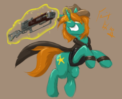 Size: 2400x1952 | Tagged: safe, artist:frist44, oc, oc only, oc:dust runner, pony, unicorn, fallout equestria, clothes, cowboy hat, cutie mark, energy weapon, fallout, fallout: new vegas, female, glowing horn, grin, gun, hat, hooves, horn, laser rifle, levitation, magic, magical energy weapon, male, mare, rifle, simple background, smiling, solo, stallion, telekinesis, weapon