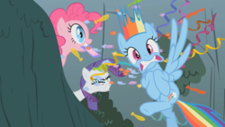 Size: 800x450 | Tagged: confetti, dragonshy, pinkie pie, rainbow dash, rarity, safe, screencap, shocked