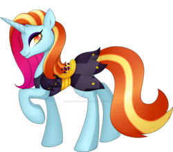 Size: 1024x901 | Tagged: safe, artist:scarlet-spectrum, sassy saddles, pony, unicorn, colored pupils, deviantart watermark, female, mare, obtrusive watermark, profile, raised hoof, simple background, solo, transparent background, watermark