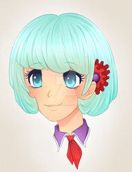 Size: 1024x1334 | Tagged: safe, artist:scarlet-spectrum, coco pommel, human, bust, cocobetes, colored pupils, cute, deviantart watermark, female, head only, human coloration, humanized, light skin, obtrusive watermark, portrait, solo, watermark