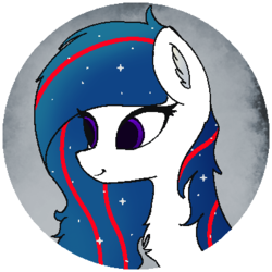 Size: 393x393 | Tagged: artist:andrew shepard, bust, chest fluff, ear fluff, ethereal mane, oc, oc:nasapone, safe, simple background, starry mane, transparent background