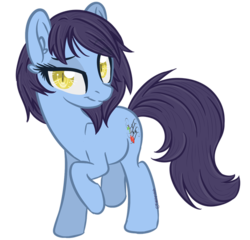 Size: 600x577 | Tagged: safe, artist:sinamuna, oc, oc only, oc:culinary sonata, pony, base used, blue fur, cutie mark, female, purple hair, sassy, short hair, slit pupils, smiling, smirk, smug, solo, yellow eyes