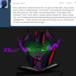 Size: 600x600 | Tagged: artist:sinsays, ask, ask corrupted twilight sparkle, book, confused, corrupted, corrupted twilight sparkle, curved horn, dark, dark magic, dark skin, doctor who, female, horn, magic, part of a series, part of a set, pedestal, pony, possessed, queen twilight, roleplaying, safe, solo, solo female, sombra eyes, sombra's horn, the doctor, tumblr, twilight sparkle, tyrant sparkle, unicorn, unicorn twilight