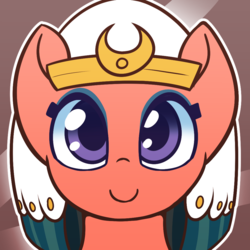 Size: 1000x1000 | Tagged: safe, artist:puetsua, somnambula, pegasus, pony, abstract background, avatar, bust, c:, colored pupils, cute, female, headdress, looking at you, mare, portrait, smiling, solo, somnambetes