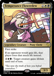 Size: 375x523 | Tagged: safe, artist:brendahickey, edit, temperance flowerdew, pony, spoiler:comic63, carrie nation, ccg, glasses, magic the gathering, sword, trading card, trading card edit, weapon