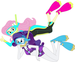 Size: 1024x855 | Tagged: artist:shoxxe, artist:zefrenchm, bikini, bikini babe, clothes, colored, diving goggles, duo, equestria girls, equestria girls series, female, flippers, fluttershy, geode of shielding, goggles, magical geodes, rarity, safe, simple background, snorkel, swimsuit, transparent background, vector, wetsuit