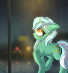 Size: 3115x3312 | Tagged: safe, artist:autumnvoyage, lyra heartstrings, pony, unicorn, blushing, cute, female, floppy ears, looking up, lyrabetes, mare, rain, raised hoof, solo