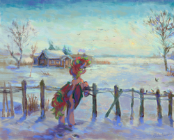 Size: 1853x1490   Tagged: safe, artist:malinetourmaline, oc, oc only, bat pony, bird, pony, bat pony oc, bipedal, bipedal leaning, commission, female, fence, leaning, mare, scenery, snow, solo, winter, ych result