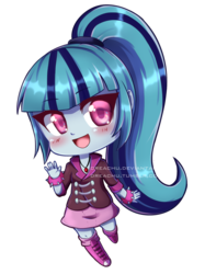 Size: 1024x1366 | Tagged: artist:dreachu, blushing, chibi, colored pupils, cute, equestria girls, gem, human, obtrusive watermark, open mouth, ponytail, rainbow rocks, safe, simple background, siren gem, solo, sonatabetes, sonata dusk, transparent background, watermark