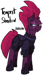 Size: 1019x1761 | Tagged: armor, artist:adilord, broken horn, female, green eyes, hoof shoes, horn, mare, my little pony: the movie, pony, purple skin, safe, simple background, solo, spoiler:my little pony movie, tempest shadow, transparent background, unicorn