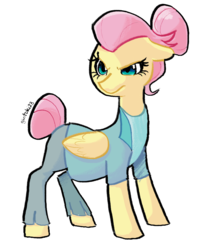 Size: 1280x1556 | Tagged: alternate hairstyle, artist:gintoki23, clothes, fake it 'til you make it, floppy ears, fluttershy, hair bun, pegasus, safe, severeshy, simple background, solo, spoiler:s08e04, white background