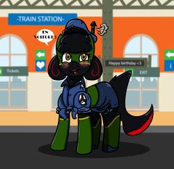 Size: 1000x970 | Tagged: safe, artist:n-o-n, pony, train pony, clothes, hat, lipstick, makeup, red lipstick, shirt, side slit, skirt, tchoo tchoo, train station, tube skirt, uniform, wtf