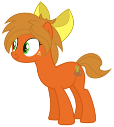 Size: 2152x2401 | Tagged: artist:razorbladetheunicron, bow, cutie mark, earth pony, female, freckles, hair bow, lateverse, mare, next generation, oc, oc:caramel ambrosia, oc only, offspring, parent:applejack, pony, safe, simple background, solo, transparent background, vector
