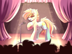 Size: 4444x3333 | Tagged: artist:airiniblock, audience, commission, earth pony, female, mare, microphone, oc, oc only, oc:passion fruit, pony, safe, silhouette, singing, smiling, stage