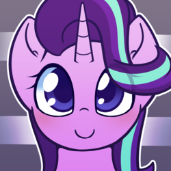 Size: 1000x1000 | Tagged: safe, artist:puetsua, part of a set, starlight glimmer, pony, unicorn, avatar, beautiful, bust, cute, female, glimmerbetes, happy, looking at you, looking up, mare, portrait, smiling, solo