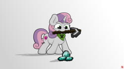 Size: 3840x2160 | Tagged: artist:ljdamz1119, cute, diasweetes, female, filly, minecraft, mouth hold, pickaxe, pony, safe, simple background, smiling, solo, sweetie belle, unicorn, white background