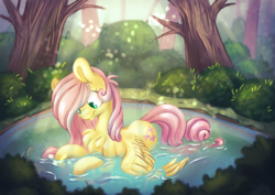 Size: 3508x2481   Tagged: safe, artist:cutepencilcase, fluttershy, pegasus, pony, bathing, bush, chest fluff, crepuscular rays, cute, digital art, female, forest, mare, outdoors, pond, prone, shyabetes, smiling, solo, spread wings, tree, wings
