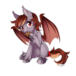 Size: 900x900 | Tagged: artist:moenkin, bat pony, bat pony oc, commission, cookie, eating, fangs, female, filly, food, gift art, oc, oc only, oc:pepper zest, pony, safe, simple background, solo, transparent background