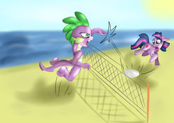 Size: 2560x1810 | Tagged: artist:jbond, barb, beach, dusk shine, playing, rule 63, safe, spike, sports, twilight sparkle, volleyball