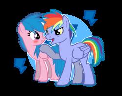 Size: 1200x944   Tagged: safe, artist:sapphireartemis, firefly, rainbow blaze, pony, blushing, boop, female, fireblaze, g1, g1 to g4, generation leap, male, noseboop, scrunchy face, shipping, straight