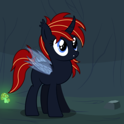 Size: 2500x2500 | Tagged: artist:pizzamovies, cave, cavern, dragonfly wings, ear fluff, fangs, female, glowing mushroom, half changeling, mare, mushroom, oc, oc only, oc:scarlet(half-breed), original species, rock, safe, smiling, solo