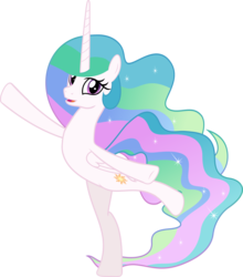 Size: 5717x6508 | Tagged: absurd res, accessory-less edit, alicorn, artist:jhayarr23, charades, cute, cutelestia, edit, editor:slayerbvc, female, horse play, mare, missing accessory, pony, princess celestia, safe, sillestia, silly, silly pony, simple background, solo, standing on one leg, transparent background, vector, vector edit